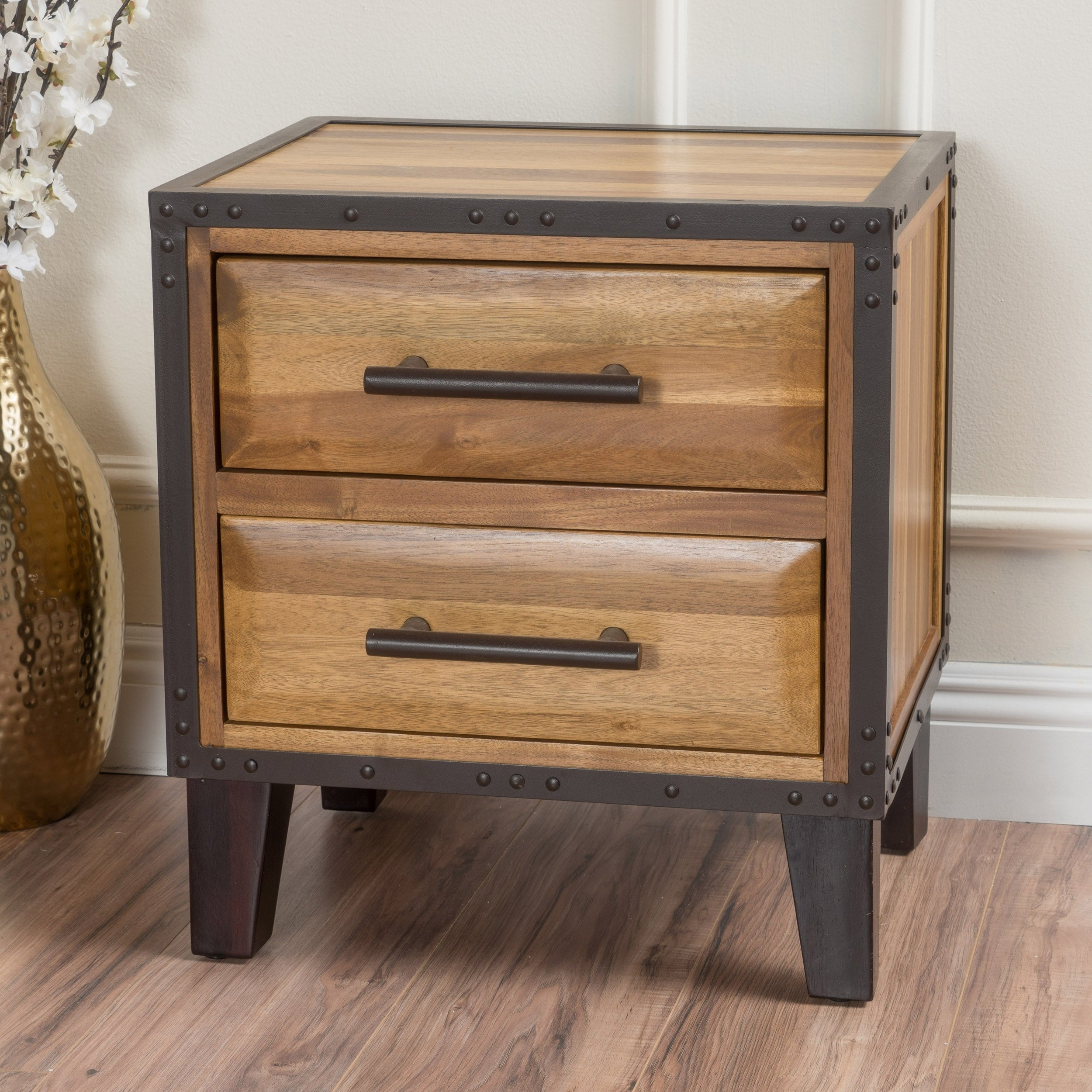 Luna Acacia Wood 2 Drawer End Table By Christopher Knight Home Overstock 9391859