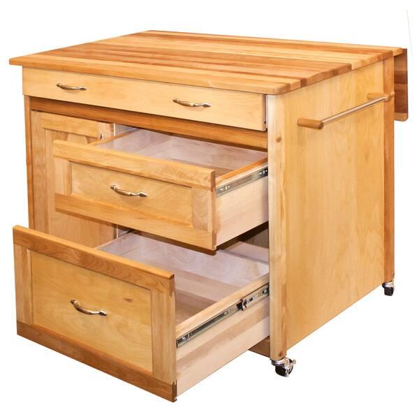 Shop Deep Drawer Hardwood Kitchen Island - Free Shipping ...