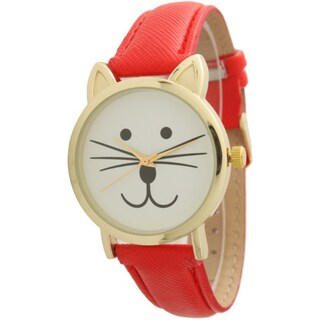 Olivia Pratt TomCat Dial Leather Watch (Option: Red)