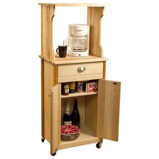 Hutch Top Yellow Birch Cart with Enclosed Storage
