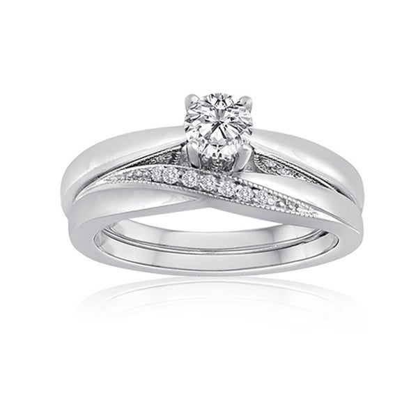 Platinaire Sterling Silver 12ct TDW Diamond Solitaire Bridal Ring
