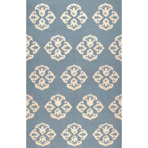 Shop ABC Accents Handmade Andalusia Dhurrie Blue Wool Rug