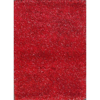 Embellishing Red Shag Rug (4' x 6')