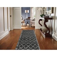 Mohawk Home Woven Stretched Lattice Grey Shag Rug - 2'x7' 10""