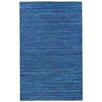 Recycled Sari Silk Blue Rug (4' x 6') - 4' x 6'