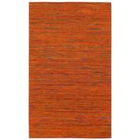 Recycled Sari Silk Orange Rug (5' x 8')