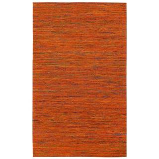 Recycled Sari Silk Orange Rug (5' x 8') - 5' x 8'