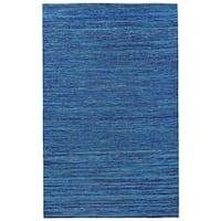 Recycled Sari Silk Blue Rug (8' x 10') - 8' x 10'