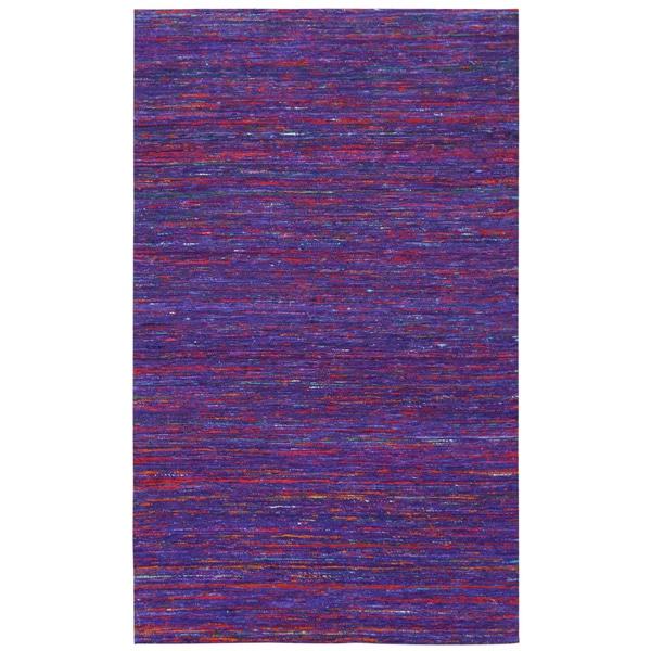 Recycled Sari Silk Purple Rug (8' x 10') - 8' x 10'