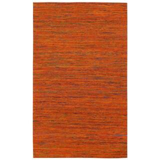 Recycled Sari Silk Orange Rug (8' x 10')