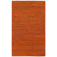 Recycled Sari Silk Orange Rug - 8' x 10'