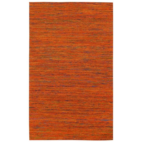 Recycled Sari Silk Orange Rug (8' x 10') - 8' x 10'
