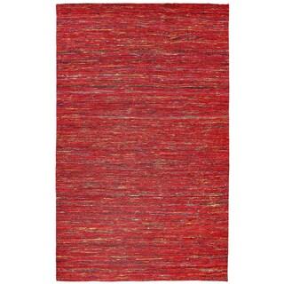 Recycled Sari Silk Red Rug (8' x 10') - 8' x 10'