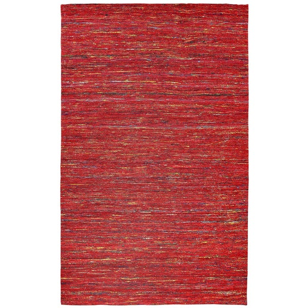 Recycled Sari Silk Red Rug - 8' x 10'