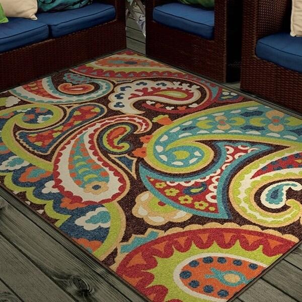Havenside Home Morgantown Indoor/Outdoor Paisley Rainbow Multi Area Rug - 7'8 x 10'10