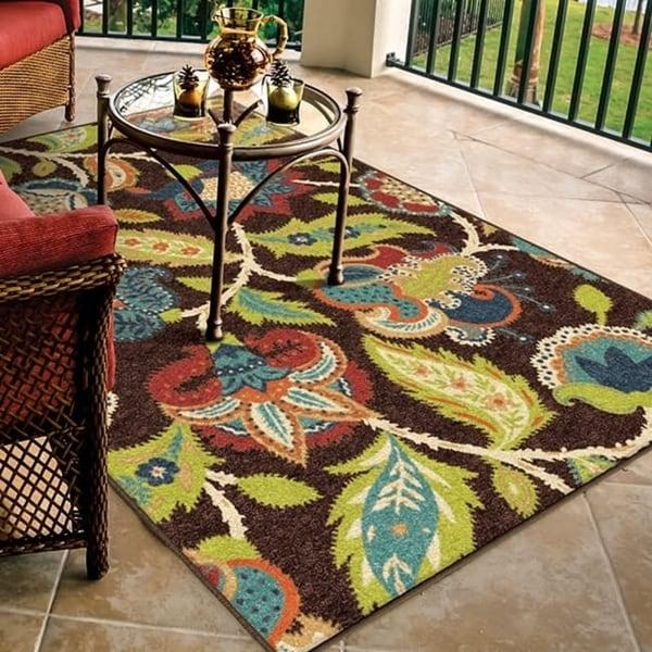Carolina Weavers Indoor/Outdoor Santa Barbara Collection Tulles Brown Area Rug (7'8 x 10'10)