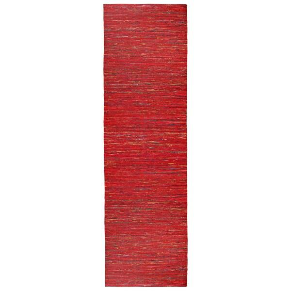 Recycled Sari Silk Red Runner - 2'6 x 12'