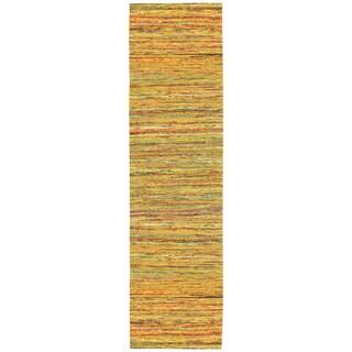 Recycled Sari Silk Yellow Runner (2'6 x 12')