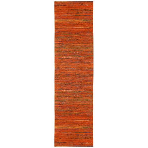 "Recycled Sari Silk Orange Runner (2'6 x 12') - 2'6"" x 12'"