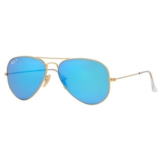 ray ban sunglasses polarized sale  Ray-Ban Aviator \u0027RB3025\u0027 Unisex Matte Gold/ Blue Flash Lens ...