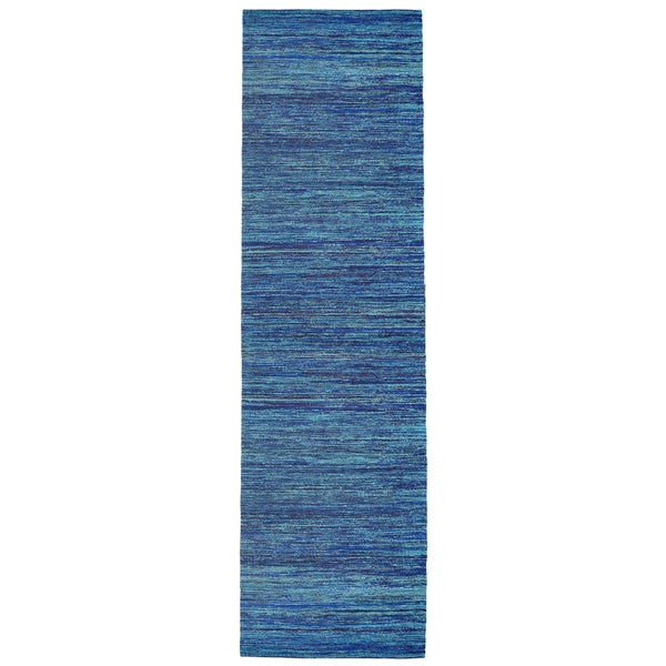 "Recycled Sari Silk Blue Runner (2'6 x 12') - 2'6"" x 12'"