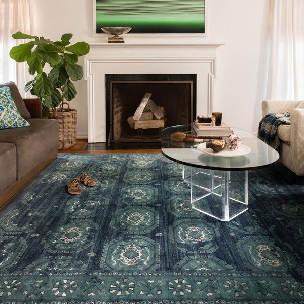 Diamond Basic Porcelain Blue Persian Style Wool Area Rug: Emerson Medallion Tile Rug (9'2 X 12'2)