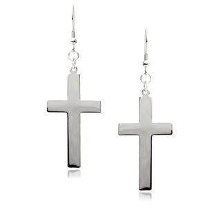 Journee Collection Stainless Steel Cross Dangle Earrings