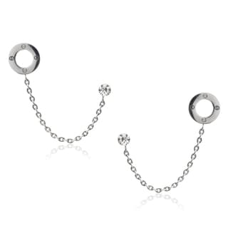Journee Collection Stainless Steel Cubic Zirconia Cartilage Chain Earrings