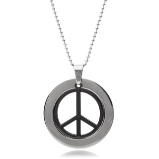 Vance Co. Men's Stainless Steel Peace Sign Pendant