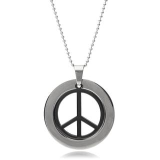 Vance Co. Men's Stainless Steel Peace Sign Pendant|https://ak1.ostkcdn.com/images/products/9394276/P16583316.jpg?impolicy=medium