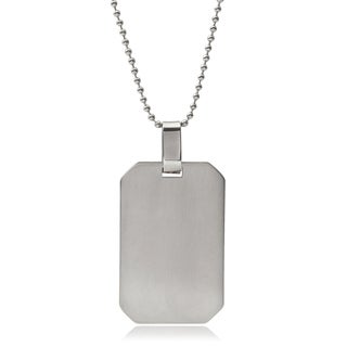 Vance Co. Men's Stainless Steel Engraveable Dog Tag Pendant