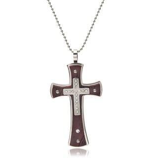 Vance Co. Men's Stainless Steel Cubic Zirconia Cross Pendant