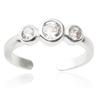 Journee Collection Sterling Silver Cubic Zirconia Toe Ring