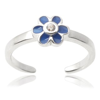 Journee Collection Sterling Silver Cubic Zirconia Flower Toe Ring