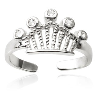 Journee Collection Sterling Silver Cubic Zirconia Crown Toe Ring