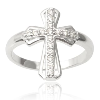 Journee Collection Sterling Silver Cubic Zirconia Cross Ring