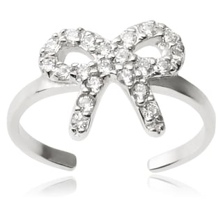 Journee Collection Sterling Silver Cubic Zirconia Bow Toe Ring