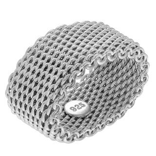 Sterling Silver Mesh Chain link Wide-cut Ring Band