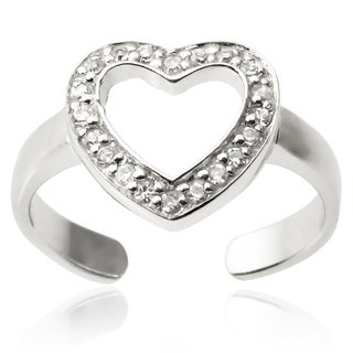 Journee Collection Sterling Silver Cubic Zirconia Heart Toe Ring
