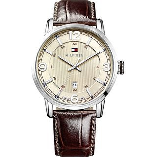 Tommy Hilfiger Men's 1710343 Brown Croc-embossed Leather Watch