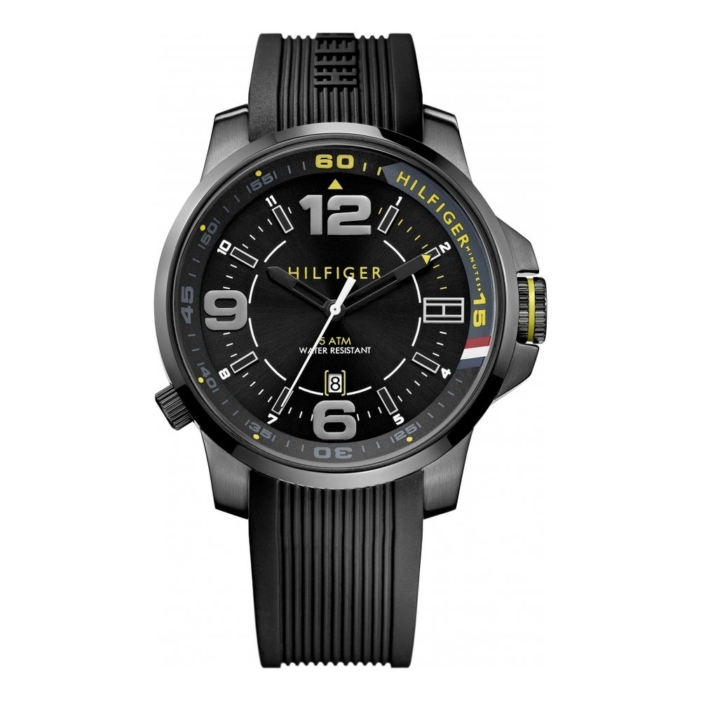 7d314db3d2 Shop Tommy Hilfiger Men's 1791008 Black Silicone Strap Watch - On Sale -  Free Shipping Today - Overstock - 9394385