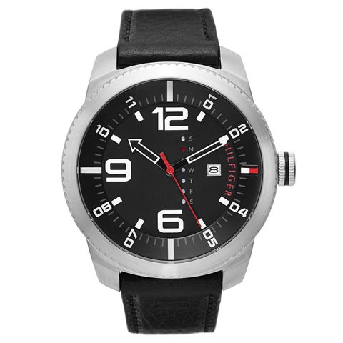 Tommy Hilfiger Men's Black Leather Strap Watch