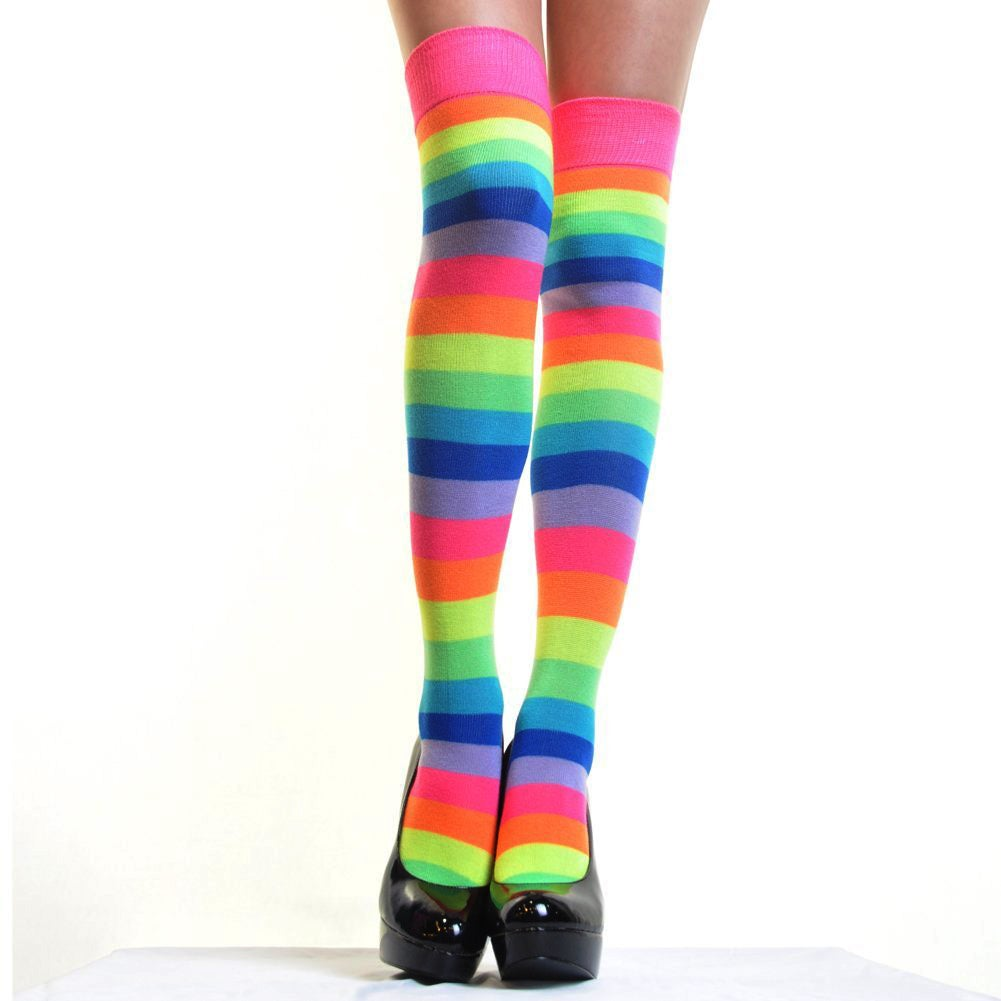 Angelina Hoisery Neon Rainbow Thigh-high Socks (Size: One...
