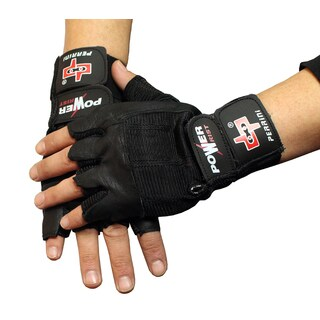 Black Leather Fingerless Weight-Lifting Gloves