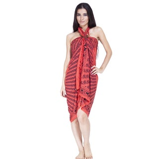 Handmade Om Ganesh Women's Sarong (Indonesia) (Option: Orange/Red)
