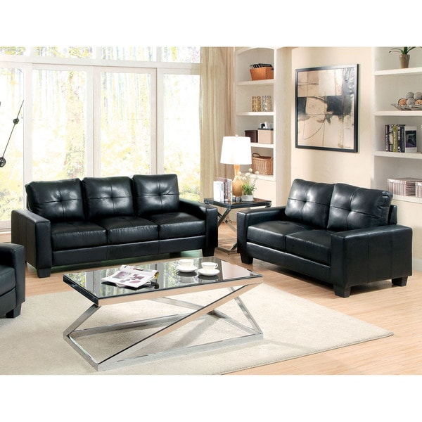 Furniture of America Dresford 2-Piece Tufted Black Sofa and Loveseat Set