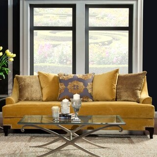 Furniture of America Gisc Traditional Velvet Fabric Upholstered Sofa