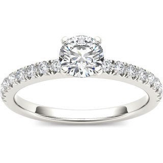 De Couer 14k White Gold 3/4ct TDW Diamond Side Stone Engagement Ring (H-I, I1-I2)