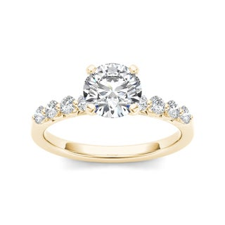 De Couer 14k Yellow Gold 3/4ct TDW Diamond Side Stone Engagement Ring