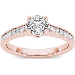 De Couer 14k Rose Gold 1 1/4ct TDW Diamond Engagement Ring